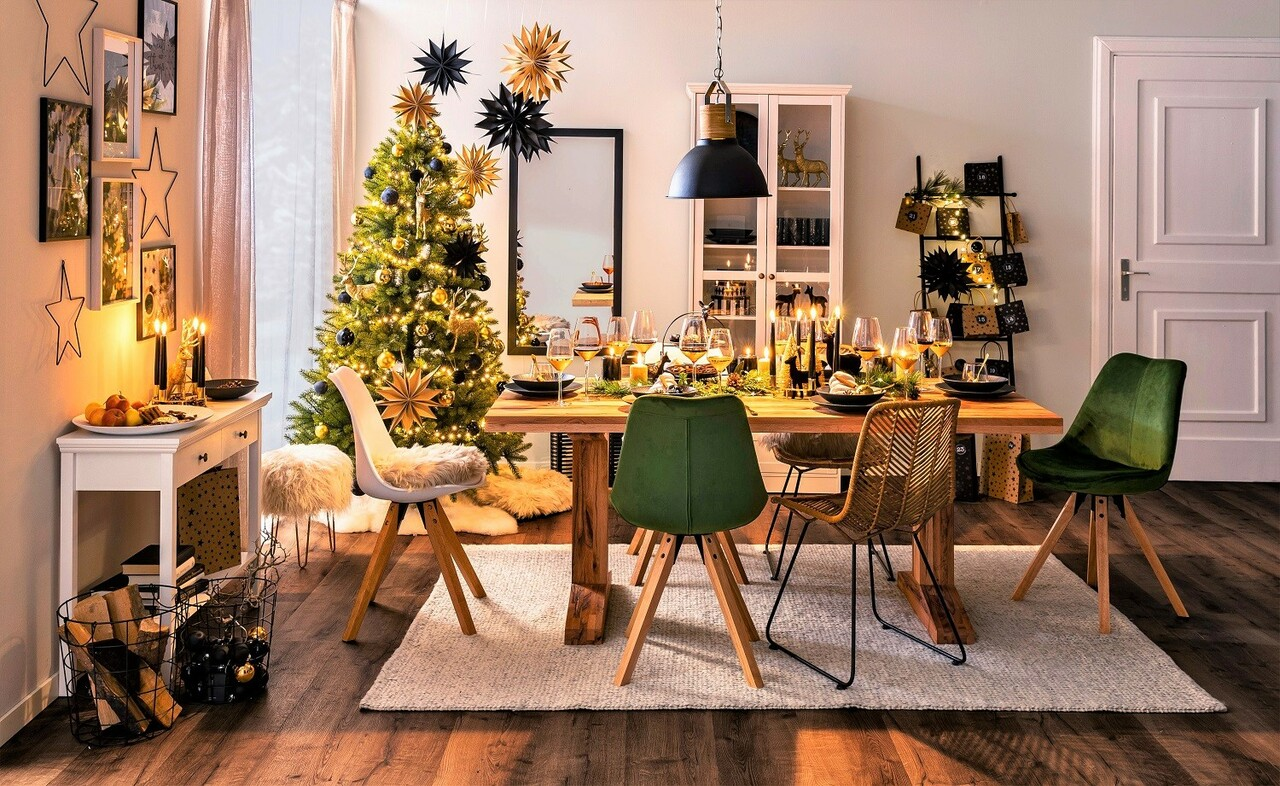 "Shop the Look: ""Nordic Christmas - Black & Gold"""